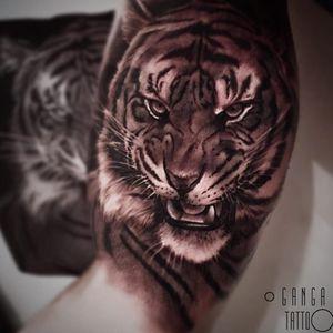 Tattoo by Ganga #GangaTattoo #Ganga #cattattoos #cat #kitty #petportrait #animal #nature #realistic #realism #hyperrealism #tiger #junglecat #blackandgrey
