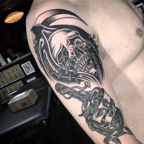 #traditional #traditionaltattoo #AmericanTraditional #traditionaltattoos #TraditionalArtist #reaper #reapertattoo #grimreaper #GrimReaperTattoo