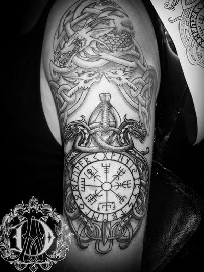 2nd session of Viking half sleeve #tattooed #fkirons #fkironsxion #eikon #stencilstuff #eternalink #dynamicink #tattoopen #tattoos #tattooideas #art #ink #viking #vikingtattoo #norse #pagan #blackandgrey #alexdavidsontattoos #tattoomafia #halfsleeve