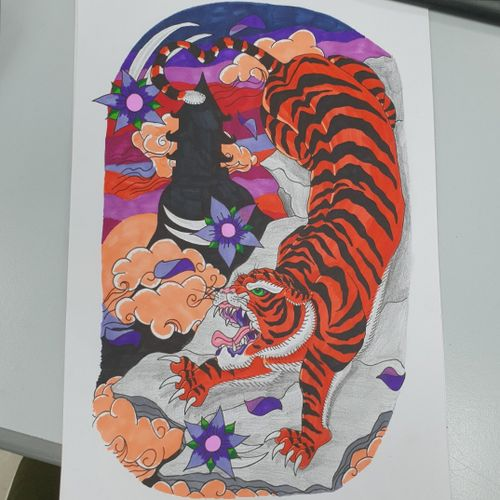Full colour Japanese traditional tiger #japanesetattoo #Japanesetraditionaltattoo #japanesetiger