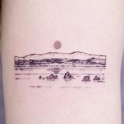 Tattoo by Nanal #Nanal #landscapetattoos #landscape #land #nature #environment #beach #water #sun #sky #minimal #watercolor #Minimal #small
