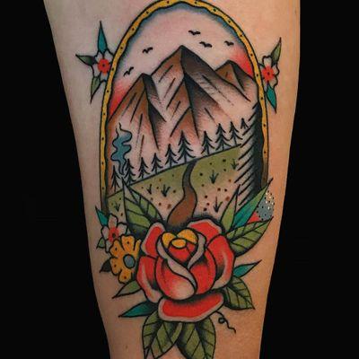 Tattoo by Alex Zampirri #AlexZampirri #AZamp #landscapetattoos #landscape #land #nature #environment #mountain #forest #rose #frame #flowers #leaves #floral #traditiona #color