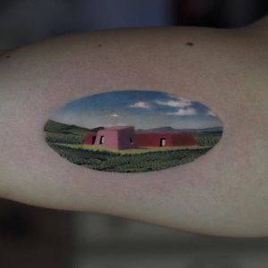 Tattoo by Jefree Naderali #JefreeNaderali #landscapetattoos #landscape #land #nature #environment #surreal #building #sky #grass #architecture #home