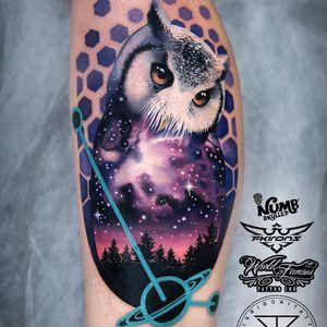 Tattoo by Chris Rigoni #ChrisRigoni #sparklytattoos #sparkly #glittery #glitter #sparkle #stars #ornamental #beautiful #owl #bird #feathers #realism #realistic #stars #galaxy #space #forest