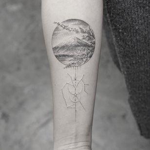 Tattoo by Mr K #MrK #landscapetattoos #landscape #land #nature #environment #blackandgrey #mtfuji #mountfuji #cherryblossoms #linework #dotwork #mountain #flowers #floral #Japan