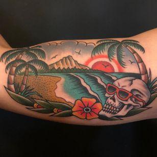 Tattoo by Ross K Jones #RossKJones #landscapetattoos #landscape #land #nature #environment #color #traditional #skull #palmtree #trees #beach #mountains #ocean #vacation #flower #floral #clouds #birds