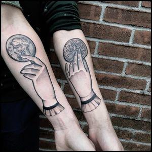 #totemica #tunguska #black #hands #ancient #greek #coin #tattoo #bionictattoostudio #rovereto #trento #italy #blacktattooart #tattoolifemagazine #tattoodo #blackworkers #blackwork