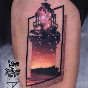 Tattoo by Chris Rigoni #ChrisRigoni #landscapetattoos #landscape #land #nature #environment #lighthouse #ocean #rocks #beach #stars #galaxy #abstract #realistic #mashup #dotwork