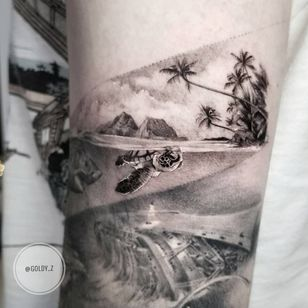 Tattoo by Goldy Z #GoldyZ #landscapetattoos #landscape #land #nature #environment #blackandgrey #realism #realistic #palmtrees #trees #beach #ocean #turtle #water