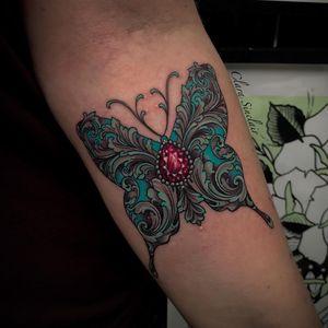 Tattoo by Clara Sinclair #ClaraSinclair #sparklytattoos #sparkly #glittery #glitter #sparkle #stars #ornamental #beautiful #gem #crystal #diamond #filigree #butterfly #nature #animal #wings #floral #pearls