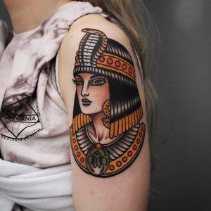 Tattoo by Tony Bluearms #TonyBluearms #Egyptiantattoos #egyptian #egypt #ancient #esoteric #history #ladyhead #color #traditional #cleopatra #nefertiti #scarab #cobra #crown #snake #jewelry #collar
