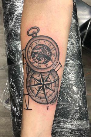 #compass #pocketwatch #compasstattoo #blackandgrey #ottawa
