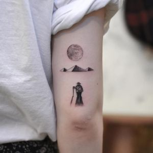 Tattoo by Tattooist Grain #TattooistGrain #Egyptiantattoos #egyptian #egypt #ancient #esoteric #history #fineline #realistic #illustrative #blackandgrey #moon #pyramids #desert #archeologist #travel #adventure