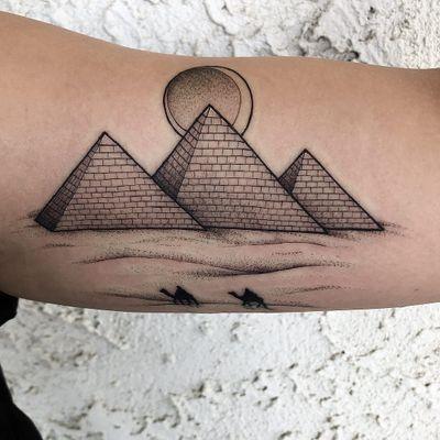 Tattoo by Kenny Sanchez #KennySanchez #Egyptiantattoos #egyptian #egypt #ancient #esoteric #history #moon #desert #Linework #fineline #travel #camel #pyramids #architecture