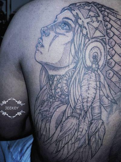 #artiste #tatt #tattoo #ink #inked #art #dessin #drawing #artist #paris #paristattoo #artwork #jeekey #paris #artist #indiangirl #indian #wolf #sketches #traditionalart #blackwork #blacktattoo