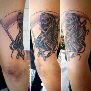 Grim Reaper #GrimReaperTattoo #tattoo #blackandgrey #blackandgreytattoo #armtattoo
