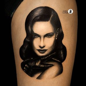 Tattoo by Jamie Luna #JamieLuna #ladytattoo #babe #lady #woman #portrait #DitaVonTeese #pinup
