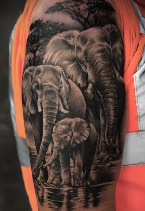 Finished this family of elephants today :) most of it is healed. Trees fresh :) #tattoo #tattoodesign #tattooideas #sleeve #sleevetattoo #elephanttattoo #elephantfamily #family #familytattoo #tattoooftheday