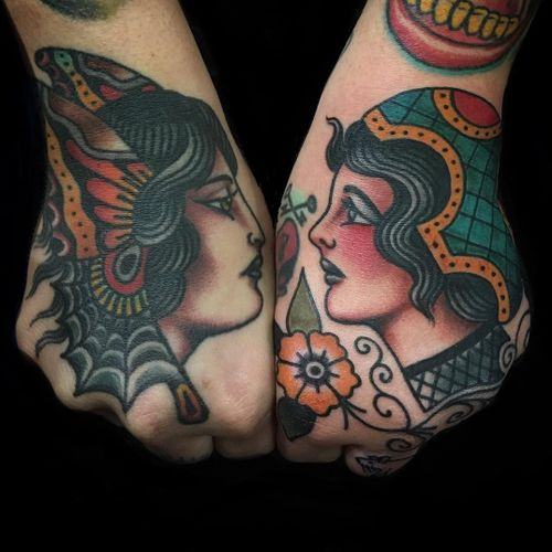 Tattoo by Todd Noble #ToddNoble #ladytattoo #babe #lady #woman #portrait #traditional #color #handtattoo #ladyhead