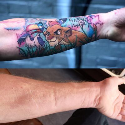 Peter covered these scars for Wesley. I'm always very happy to do this for people. If you are considering to do this get someone that understands it before it gets worse. #scartattoo #coverup #coveruptattoo #scartissue #disney #disneytattoo #thelionking #lionking #colortattoo #wallsandskin #rotterdamtattoo #amsterdamtattoo #disneytattoos #disneytattoo
