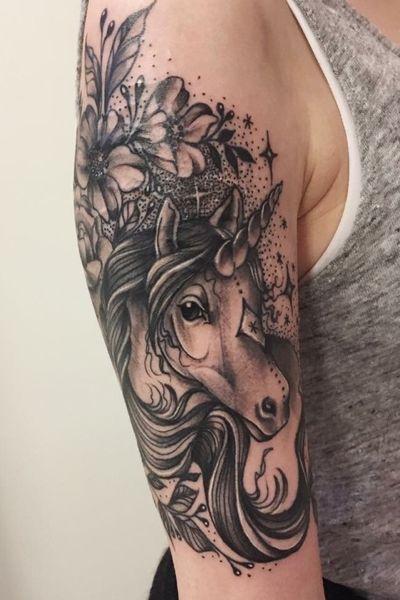 scar cover. #coverscars #coverup #unicorn #blackandgrey