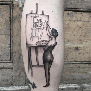 Tattoo by Adam Vu Noir #AdamVuNoir #ladytattoo #babe #lady #woman #portrait #painter #painting #metta #fineart #surreal #opticalillusion #blackandgrey