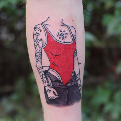 Tattoo by Patryk Hilton #PatrykHilton #ladytattoo #babe #lady #woman #portrait #tattooedgirl #tribal