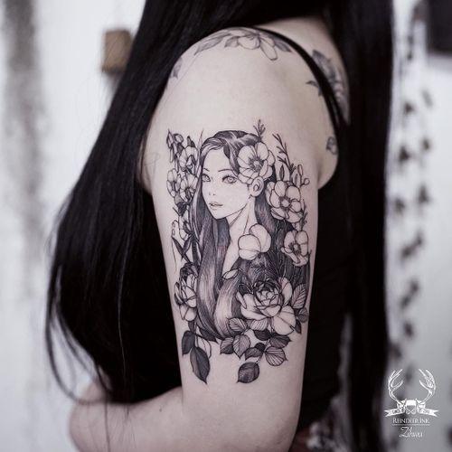 Tattoo by Zihwa #Zihwa #ladytattoo #babe #lady #woman #portrait #illustrative #linework #flowers #floral