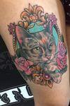 cat tattoo by crackone #crackone #cat #petportrait #frame #flowers