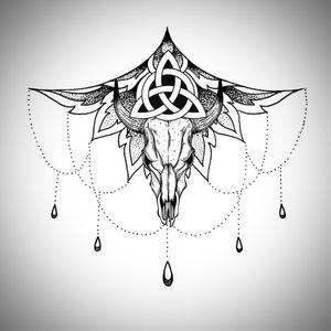 #flash #underboob #skull #bull #celtic #trinity #symbol #symbolism #glyph #dotwork #handpoke #linework #tattoodesign #tattooideas