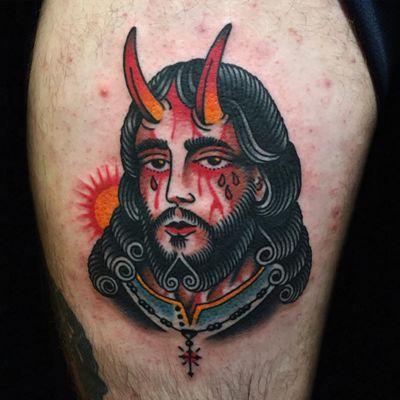 Tattoo by Austin Maples #AustinMaples #favoritetattoos #favorite #color #portrait #Jesus #devil #satan #blood #horns #religious #traditional