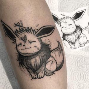 Tattoo by Kevin Plane #KevinPlane #pokemontattoos #pokemon #gamer #cartoon #tvshow #game #Japanese #anime #eevee #illustrative #blackwork #Linework #sketch #ink