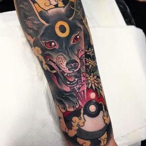 Tattoo by Rafa Jurado #RafaJurado #pokemontattoos #pokemon #gamer #cartoon #tvshow #game #Japanese #anime #neotraditional #wolf #dog #pokeball #weed #420 #smoke #pikachu