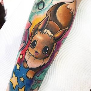 Tattoo by Stefan Salamone #StefanSalamone #pokemontattoos #pokemon #gamer #cartoon #tvshow #game #Japanese #anime #Eevee #stars #color #newschool #sleeve