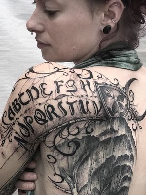 Second session . Need one more and I will tell you the story behind this ouija piece ;) . #ouija #ouijaboard #girlswithtattoos #dtink #yoricktattoo #backpiece #blackworktattoos #darktattoo #tattooartist #girl #tattoooftheday