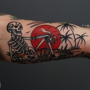 Tattoo by Tony Bluearms #TonyBluearms #favoritetattoos #favorite #skeleton #skull #death #palmtrees #trees #sun #beach #island #cigar #smoke