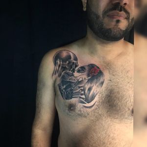 Today got to do Julios @busta857 #firsttattoo on his chest of a #skull kissing a #katrina of #losdiasdelomuertos 💀 Thanks for the trust brother ! 🤟🏻 Done in my studio @blackskull_tattoostudio #TattzByAG #Ink #Tattoo #Tatuaje #BodyArt #ArteCorporal #blackandgrey #blackandgreytattoo #NYC #NYCTattoo #NYCTattooArtist #newyorkcitytattoo #newyorkcitytattooartist #newyorkcity #privatestudio #privatetattoostudio #traditional #traditionaltattoo