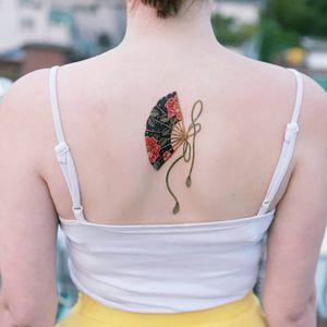 Tattoo by Tattooist Sion #TattooistSion #koreantattooartist #Korea #neotraditional #color #beautiful #knot #flower #folkart #fan #ribbon #bow #peony