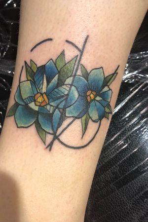 Geometric Forget Me Nots (Villain Arts Milwaukee Tattoo Convention)