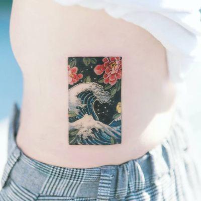 Tattoo by Tattooist Sion #TattooistSion #koreantattooartist #Korea #neotraditional #color #beautiful #knot #flower #folkart #wave #peony #ocean #Japanese