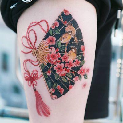 Tattoo by Tattooist Sion #TattooistSion #koreantattooartist #Korea #neotraditional #color #beautiful #knot #flower #folkart #fan #bird #butterfly #cherryblossom