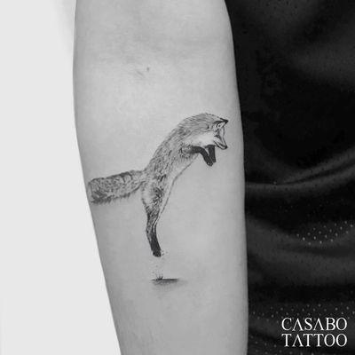 Tattoo by Ivan Casabo #IvanCasabo #foxtattoo #fox #animal #nature #blackandgrey #realism #realistic #illustrative #fur #cute