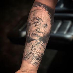 Mister Einstein by Peter. #realistic #realistictattoo #alberteinstein #tattoo #tatuagem #tatuaje #wallsandskin #amsterdamtattoo #rotterdamtattoo #science #hero #besttattoos #inkmagazine #blackandgrey #blackandgreytattoo