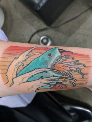 Jump the shark! #Artnouveau #artnouveuatattoos #colourtattoo #colortattoo #illustrative