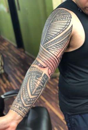 Pokynesian tattoo #polynesiantattoo #polynesian #tribal for appointments text 3109010862