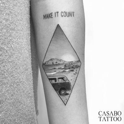 Tattoo by Ivan Casabo #IvanCasabo #blackandgreytattoos #blackandgrey #landscape #VW #volkswagen #travel #beach #ocean #sun