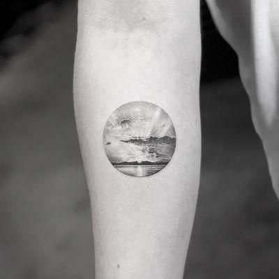 Tattoo by Mr K #MrK #blackandgreytattoos #blackandgrey #realistic #realism #landscape #beach #ocean #sun #sunrise #clouds