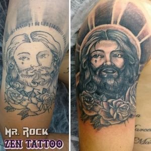 Zen Tattoo - Reforma Jesus Cristo. #jesus #jesuscristo #tattoo #tatuagem #tatuaje #tatouaje #tatuaggio #zentattoo #mrrock #oblogdozen #taquaritinga #taqua #inklife #inklovers #instattoo #instaink #reformatatuagem #coveruptattoo #coverup #artfusionsupply #artfusion #blackandgrey