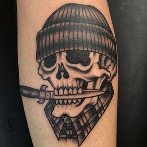 Tattoo by Ross K Jones #RossKJones #blackandgreytattoos #blackandgrey #traditional #oldschool #skull #death #switchblade #knife #vato #chicano