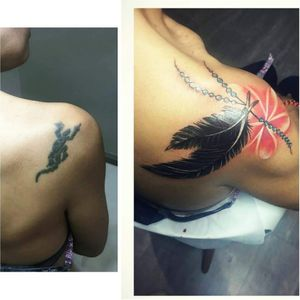 #coveruptattoo #pinuptattoo #tattooart #tattooed #feathertattoo #colourflowertattoo #inkedgirls #inkfected #inkaddict #tattooartists #instadaily